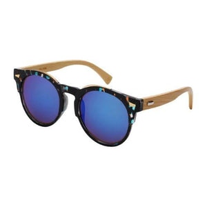 Babylon - ZunnyDāz - Bamboo - Black ColoRed Frames Speckled + Blue Lens