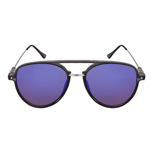 Brent - ZunnyDāz - Aviator - Clear Gray Frames + Navy Blue Frames/Purple Lens