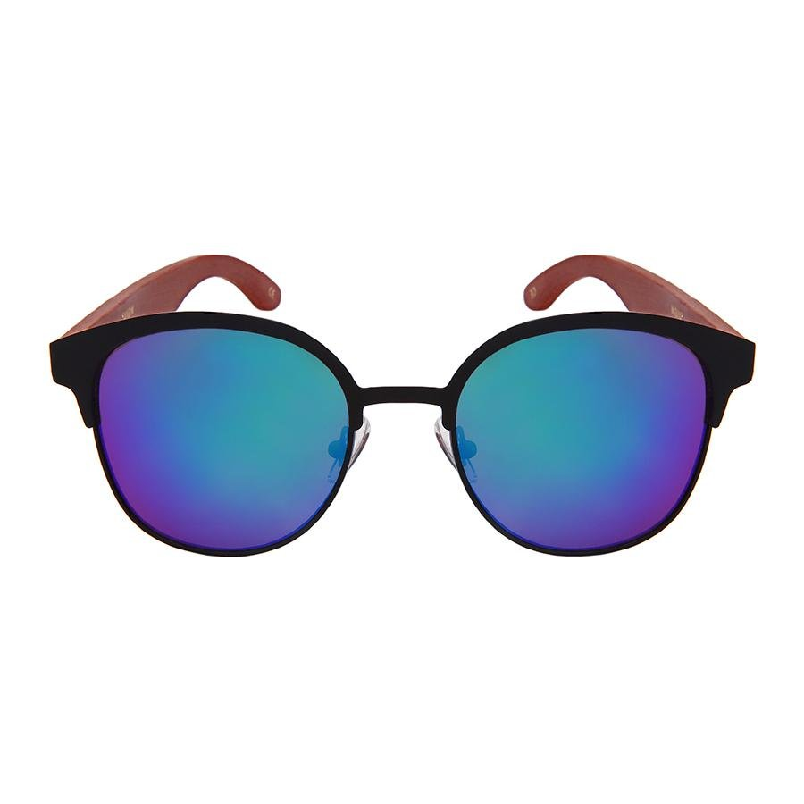 Dezi - ZunnyDāz - Bamboo - Matte Black/Brown Temple Frames + Deep Blue Green Lens