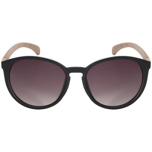 Donatela - ZunnyDāz - Round - Matte Black Frames /Medium Wood Temple + Black Lens