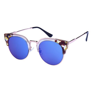 Gisele - ZunnyDāz - Cat Eye - Clear Abstract Tortoise Frames + Navy Blue Lens
