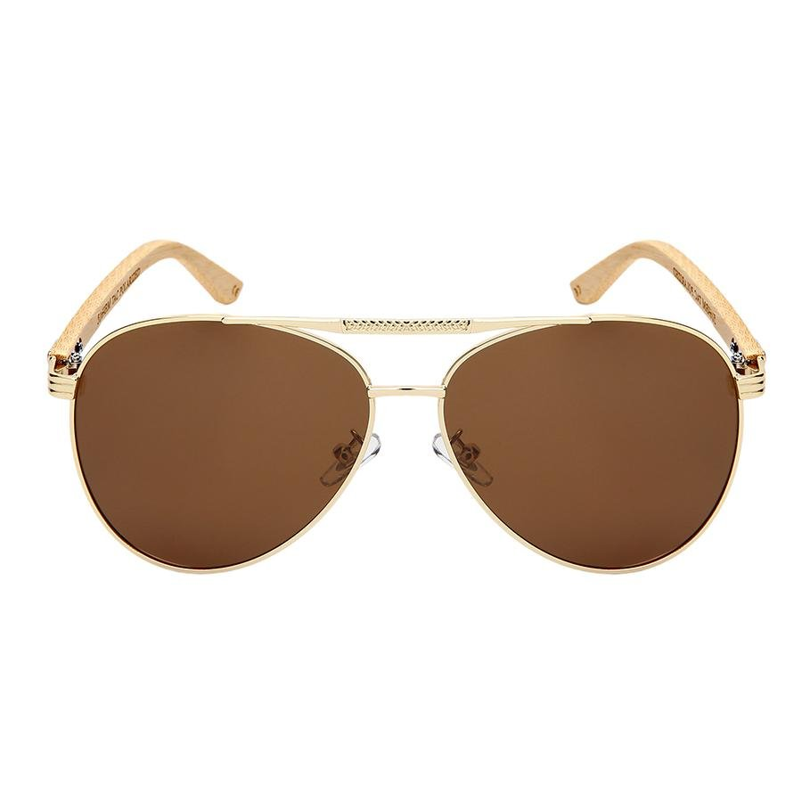 Memphis - ZunnyDāz - Bamboo - Gold/Light Bamboo Frames + Brown Lens