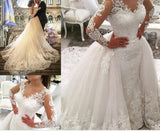 V-neck Long-Sleeved Detachable Big Tail Fishtail Wedding Dress