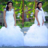 Classic Mermaid Lace Beads Fluffy Frilled Tulle Wedding Dress