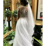 Beaded  Mermaid African Long Sleeve Zip Wedding Dress with Detachable