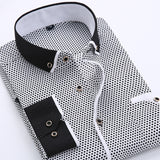 New Men's Slim Business Dress Men's Shirt Printed Thin Casual Shirt Youth Slim Long Sleeve Shirt