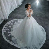 Back Tail Trailing Lace Wedding Dress
