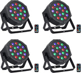 Stage Lights, 18Wx4 18LEDs Par Lights Package with RGB Tricolors by Remote