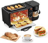 3-in-1 Family Size Electric Breakfast Station, Coffeemaker, Non‑Stick Griddle, Toaster Oven, Portable Family Size Breakfast Station