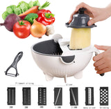 Jeslon Multifunction Vegetable Cutter Drain Basket Magic Rotate 9 Blades
