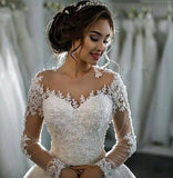 Long-Sleeved Trailing Lace Wedding Dress