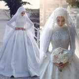 Turtleneck Muslim  Long Sleeve Lace Wedding Dress
