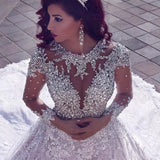 Deluxe Beaded Long Sleeve   Sequin Lace Wedding Dress