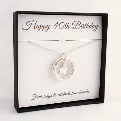 Silver necklace 4 circles with personalised star