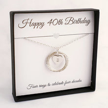 Load image into Gallery viewer, Interlocking 4 circles/rings necklace with a heart initial