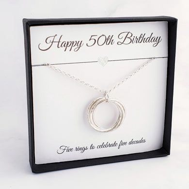 5 linked circles necklace sterling silver