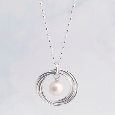 Linked Circles Necklace with Pearl Charm Sterling Silver