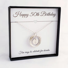 Load image into Gallery viewer, silver necklace 5 rings personalised disc