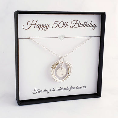 silver necklace 5 rings personalised disc