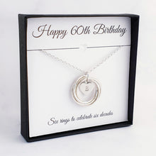 Load image into Gallery viewer, silver necklace 6 rings personalised heart charm