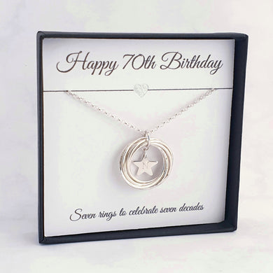 7 ring neckace personalised star charm