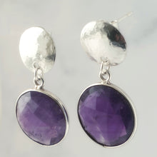 Load image into Gallery viewer, Faceted Amethyst Bezel Hammered Disc Dangle and Drop Earrings Sterling Silver