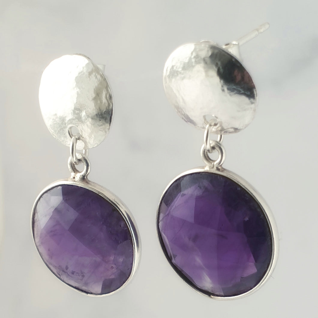 Faceted Amethyst Bezel Hammered Disc Dangle and Drop Earrings Sterling Silver