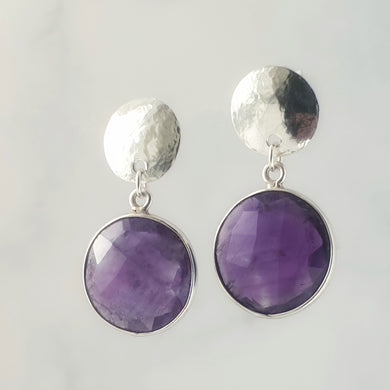 Faceted amethyst  hammered disc earrings sterling silver approx 3cm drop