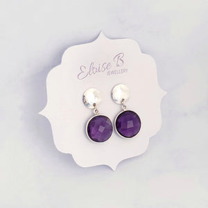 Amethyst Hammered Disc Earrings Sterling Silver