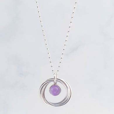 Interlocking ring/circle necklace with amethyst gemstone