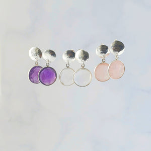 Rose Quartz, Clear Quartz and Amethyst Hammered Disc Earrings Sterling Silver