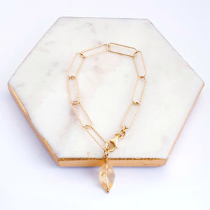 Gold plated sterling silver, paperclip chain bracelet with citrine gemstone charm