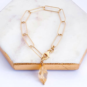 Gold plated sterling silver long link chain bracelet with citrine gemstone charm