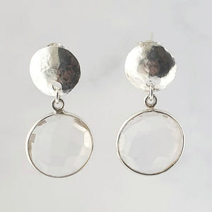 Clear Quartz Hammered Disc Sterling Silver Earrings