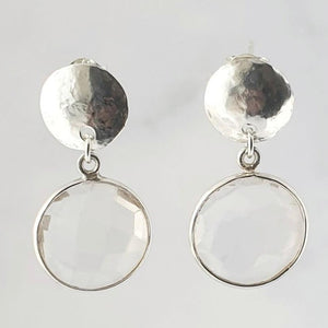 Clear Quartz Hammered Circle Sterling Silver Earrings, 3cm drop