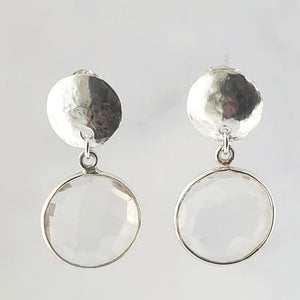Faceted Clear Quartz Bezel Hammered Disc Earrings Sterling Silver