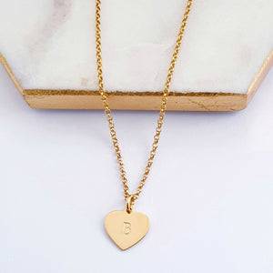 Gold vermeil sterling silver chain with personalised gold plated heart charm.