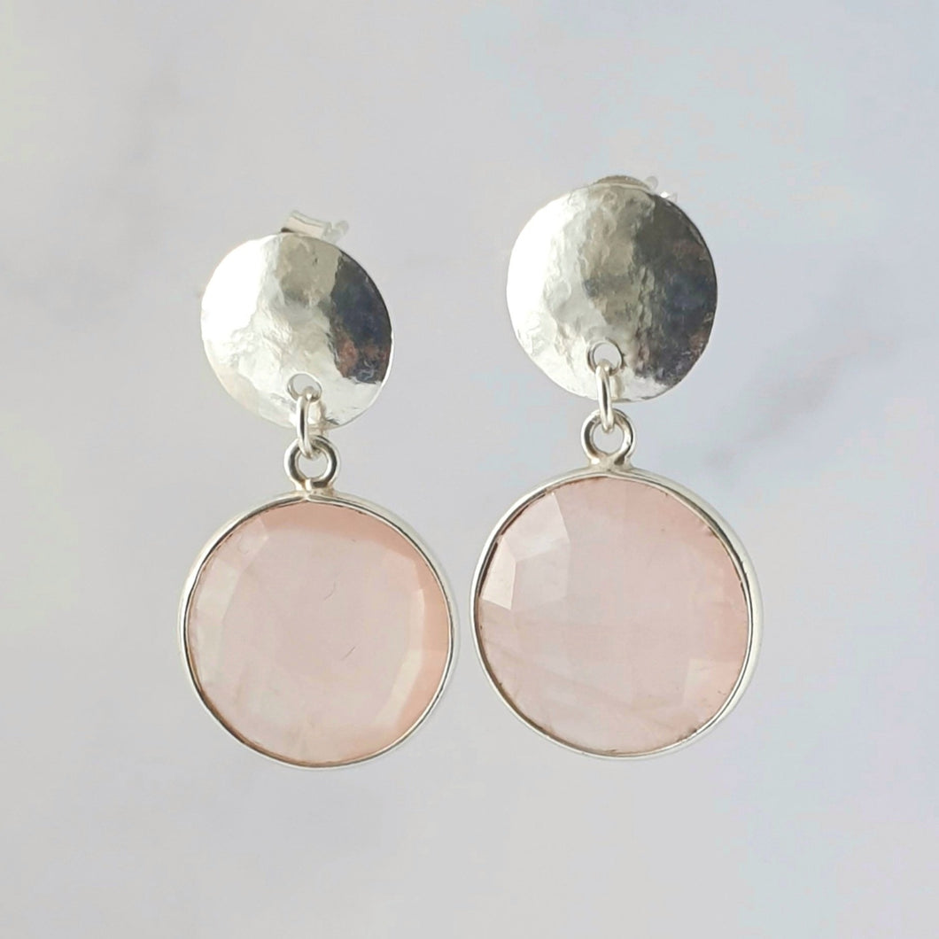 Hammered Rose Quartz Dangle and Drop earring