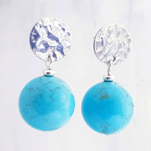Load image into Gallery viewer, Hammered stud earrings with turquoise blue magnesite gemstone sterling silver