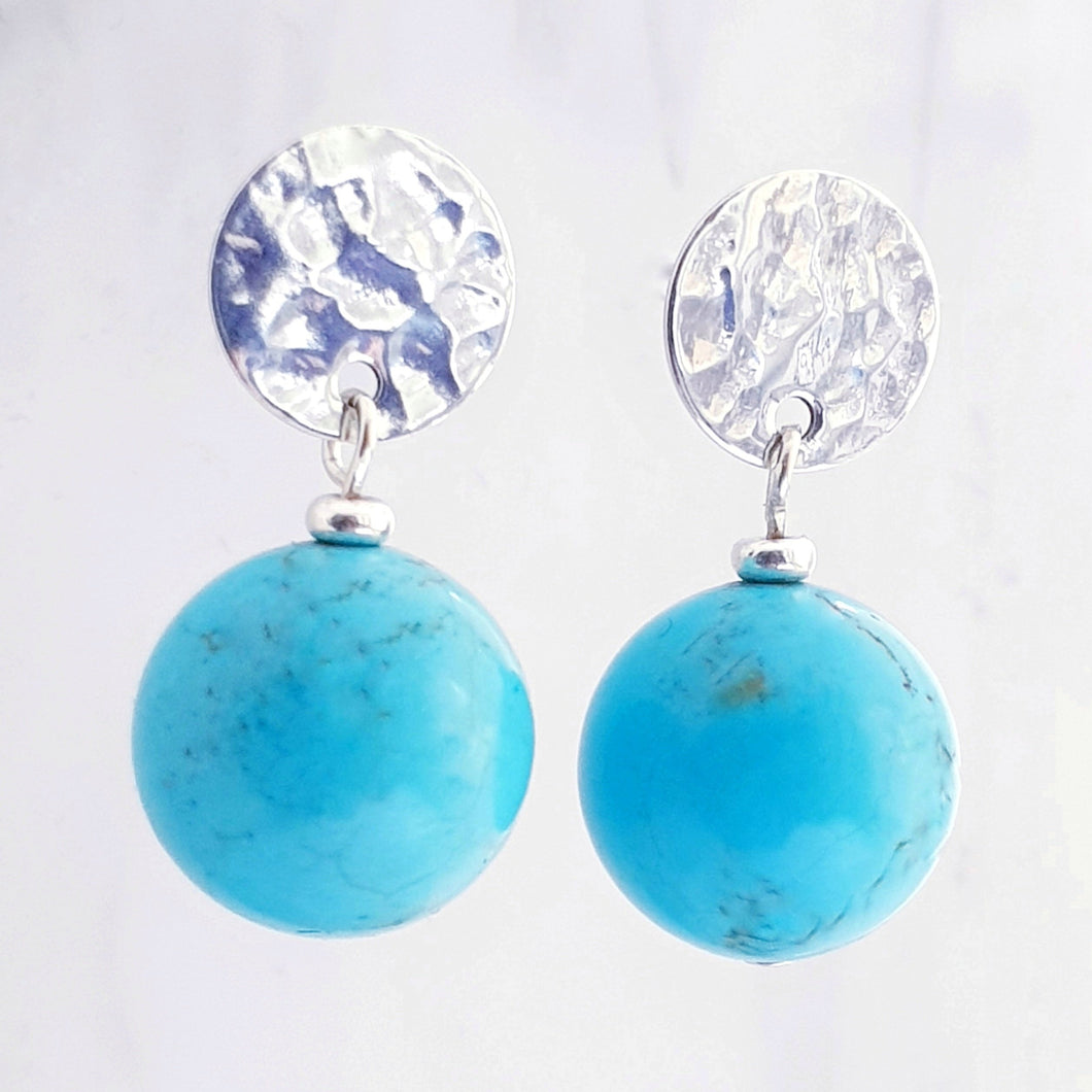 turquoise blue magnesite drop earrings sterling silver textured disc studs