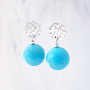 Textured disc earrings with turquoise blue magnesite gemstone sterling silver
