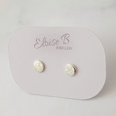 Hammered disc stud earrings sterling silver