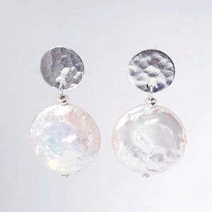 21mm x 19mm coin pearl earrings sterling silver textured 11mm disc studs