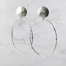 Load image into Gallery viewer, Large Oval Hoop Earrings Sterling Silver