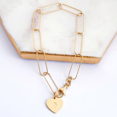 Gold plated sterling silver long link chain bracelet with personalised gold plated heart charm