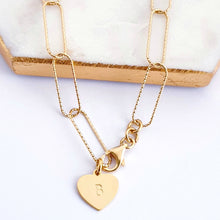 Load image into Gallery viewer, Gold Large Link Paperclip Chain Bracelet with Personalised Heart Charm
