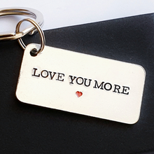 Load image into Gallery viewer, Love you more aluminium keyring with red heart and gift box