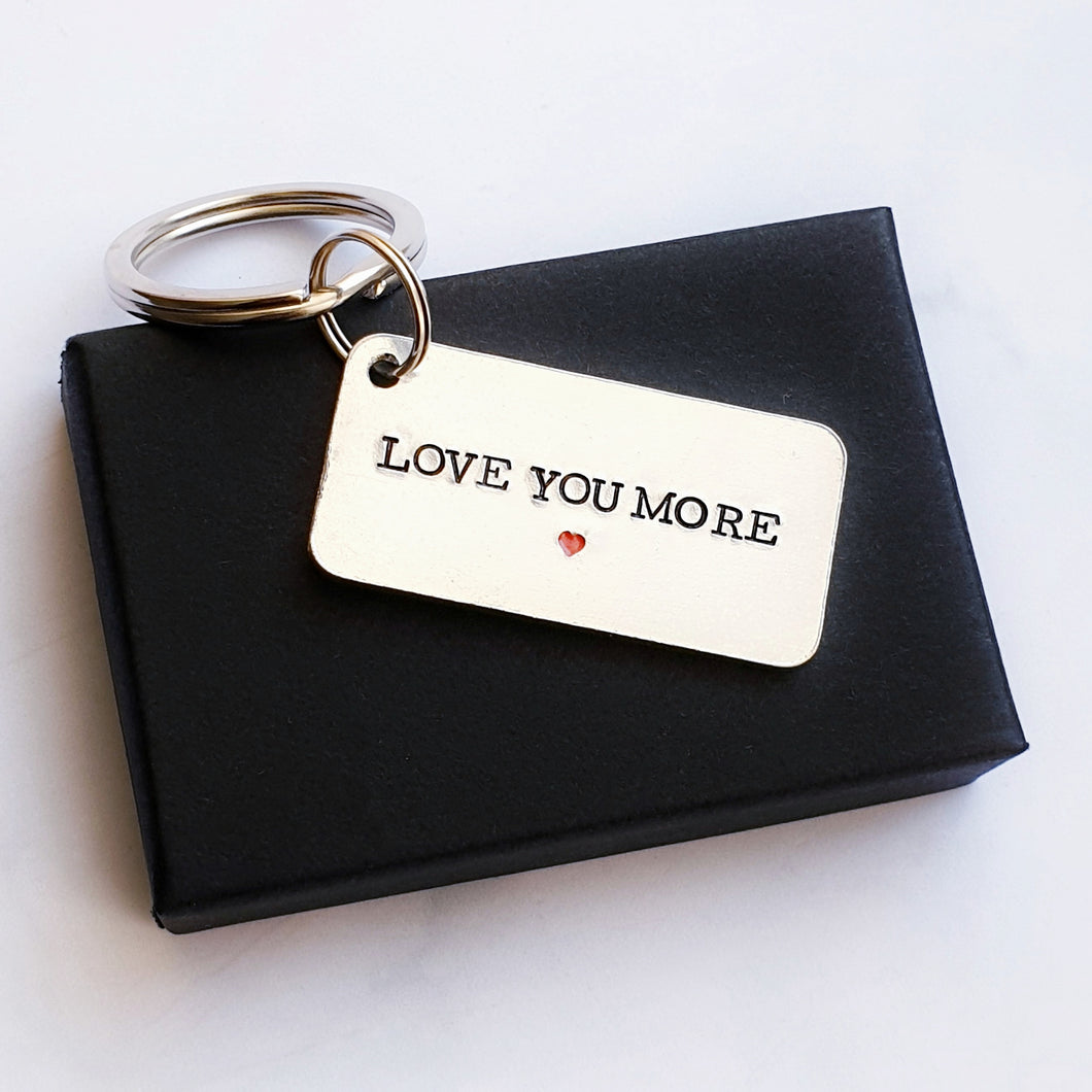 Love you more 10 year anniversary keyring aluminium