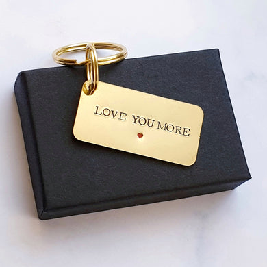 Love you more 21st anniversary keyring brass