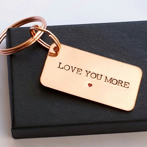 Love you more copper keyring with red heart and gift box